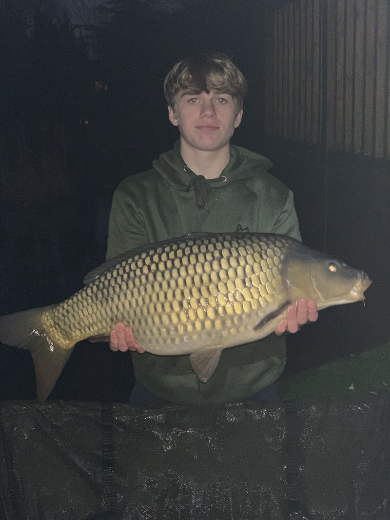 Connor McCarthy with a 20-04 Common caught from Pochard Lodge on Cherry Mere