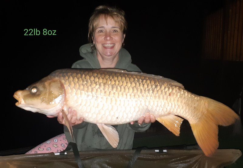 Leigh-Ann Campion with her new PB, a spawned out Common of 22-08