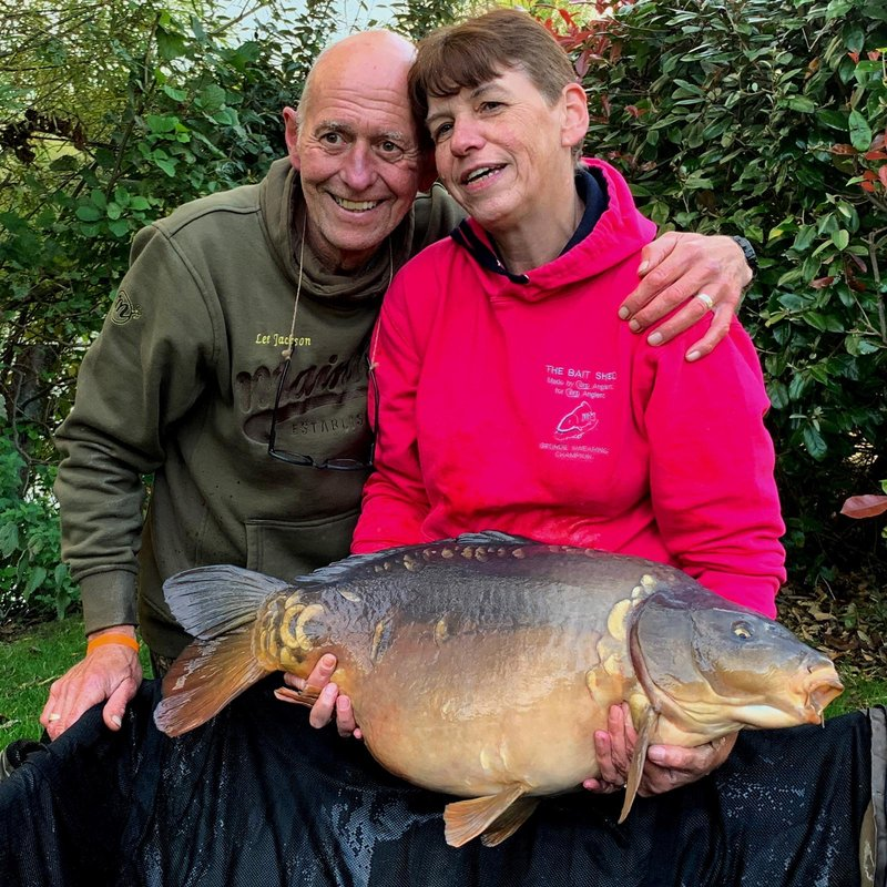 Christine Jackson with her new PB, a 31-04 Mirror accompanied by an equally pleased husband Lee