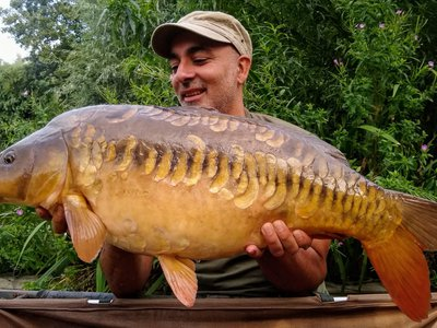 Jav Alam with a 26-12 Mirror. The biggest Carp of the record breaking week.