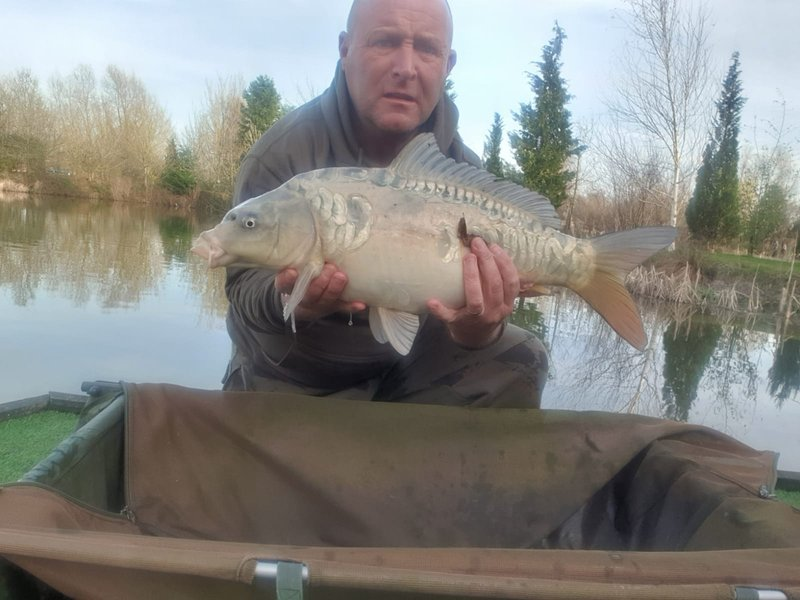 Brian Hamilton with the 'Marble Mirror' at 8lb. A very special Carp