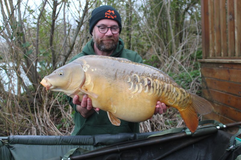 Gary showing his first Carp was no fluke. A 26-04 Mirror from Grebe Lodge.