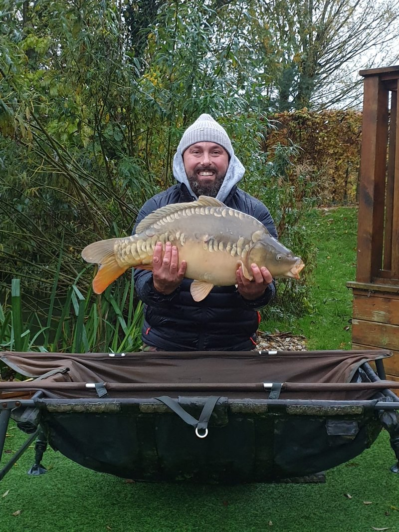 Nathan Hurwood with the biggest of his stay in Kingfisher Lodge. A 20lb Mirror
