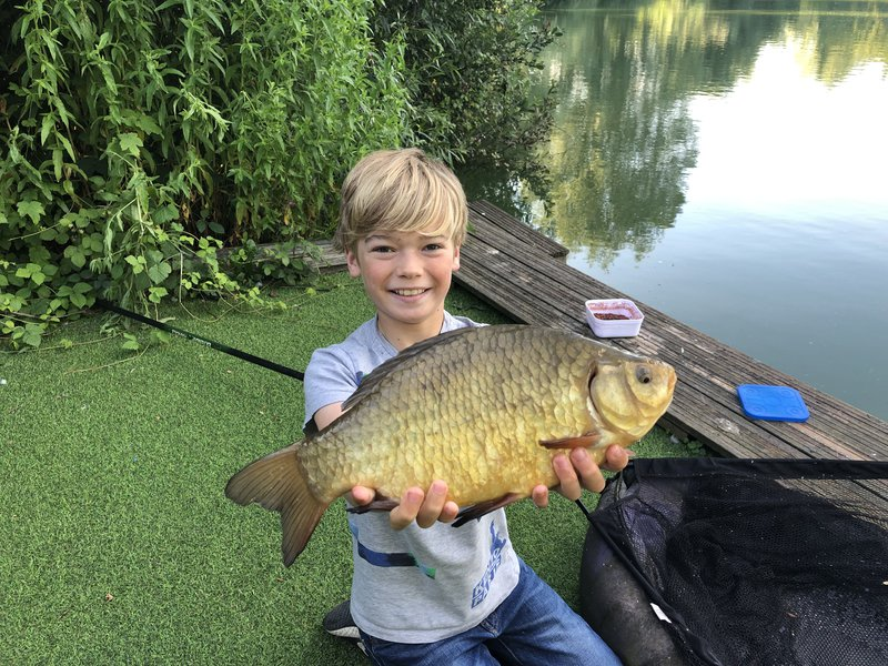 12 year old Rupert Wade with a lovely Crucian carp from Egret Pool