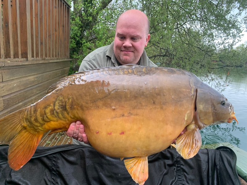 Tom Hughes with his biggest from Heron Lodge. A 36-06 Mirror
