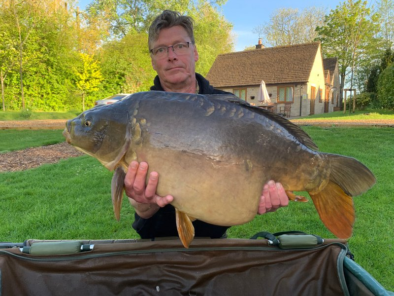 Gary Humphrey with a 34-08 Mirror from the Cottage swim