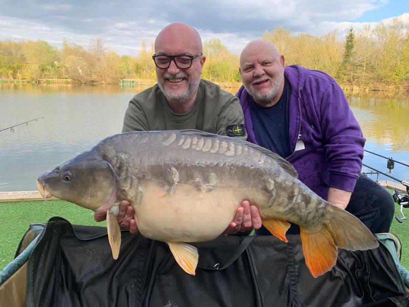 James Morris holding Bob Walker's lovely 26lb Mirror from Cherry Mere