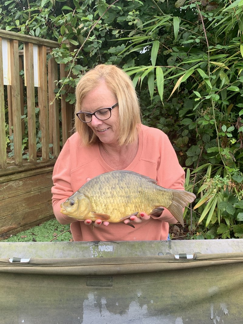 Mandy Gray with a 2lb+ Cherry Pool Crucian Carp