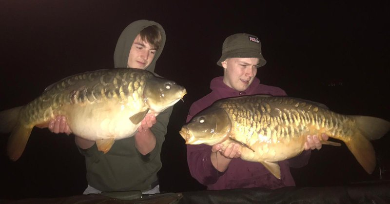 Joshua Collins with his new PB (21-08 left) and Joel with his 19b Cherry Mere Carp