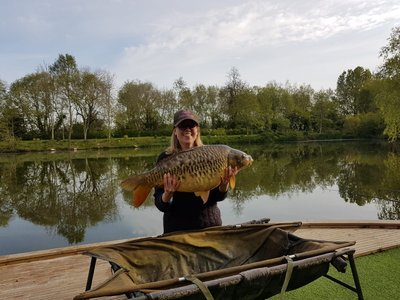 Sarah Scrase with her PB 21-02 Mirror Carp from Cherry Springs
