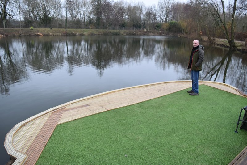 The new Kingfisher fishing platform. Fishery manager Dave is well pleased with it.